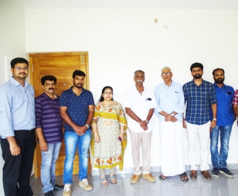 Our team with Mr.Nikhil Aravind of apartment no.E 07 in Crescent Lavender, after handing over