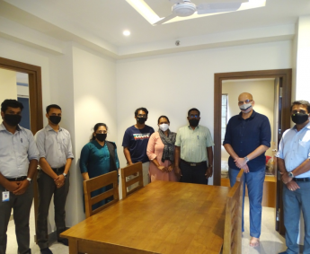 Our team with Mr.Chandran and family of apartment no. C16 in Crescent Lavender, after handing over