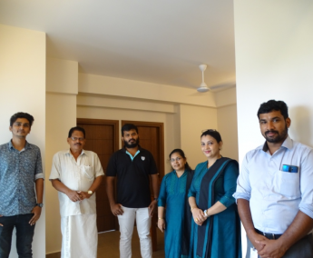 Our team with Mr.Aneesh Sebastian of apartment no. C08 in Crescent Lavender, after handing over