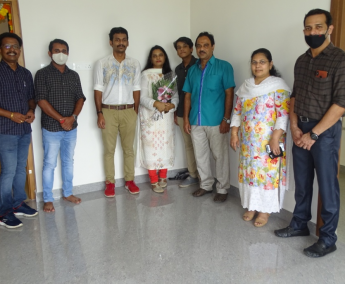 Our team with Mr.Zubin Ramachandran and family of apartment no. D04 in Crescent Lavender, after handing over