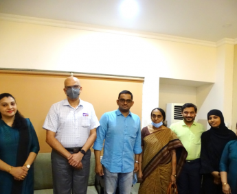 Our team with Mr.Bipin Aravindakshan and family of apartment no. I12 in Crescent Zinnia, after handing over
