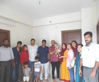 Our team with Mr.Nimel Jameela and family of apartment no. C10 in Crescent Lavender, after handing over