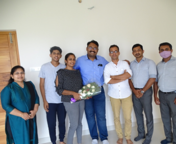 Our team with Dr. Rajneesh A Rajan and family of apartment no. E10 in Crescent Lavender, after handing over